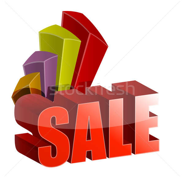 sale graph and text illustration design over a white background Stock photo © alexmillos
