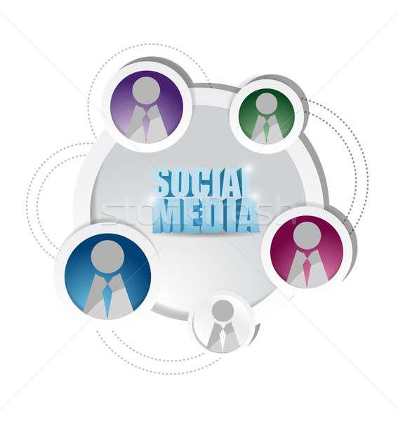 social media network diagram friends cycle. illustration design  Stock photo © alexmillos
