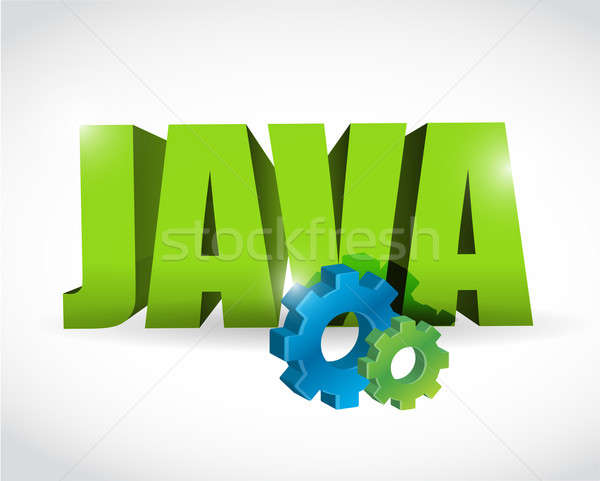 java gear text sign illustration design over a white background Stock photo © alexmillos
