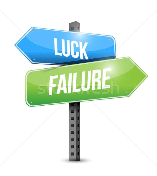 luck and failure road sign illustration design over a white back Stock photo © alexmillos