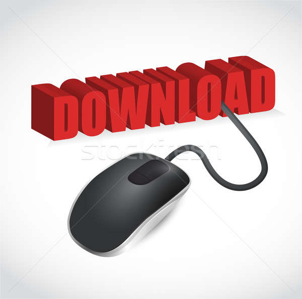 Computer mouse and word Download illustration design over a whit Stock photo © alexmillos