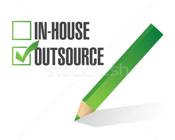in-house outsource check mark illustration design over white Stock photo © alexmillos