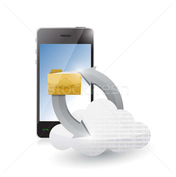 phone cloud and folder illustration design over a white backgrou Stock photo © alexmillos