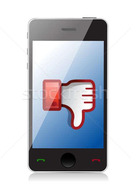 Telefone antipatia ícone polegar para baixo assinar Foto stock © alexmillos