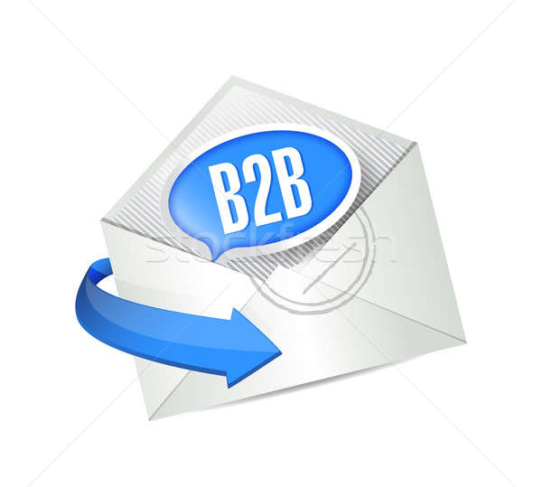 b2b message bubble email illustration design over white Stock photo © alexmillos