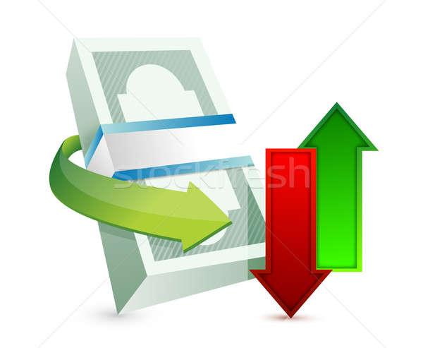 Pénzátutalás illusztráció terv fehér piros bank Stock fotó © alexmillos