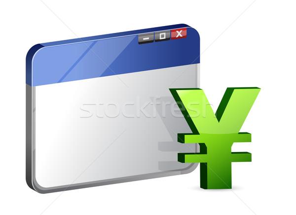 Valuta symbool browser geld internet werk Stockfoto © alexmillos