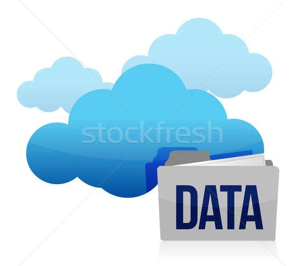 cloud and folder data storage illustration design over white Stock photo © alexmillos