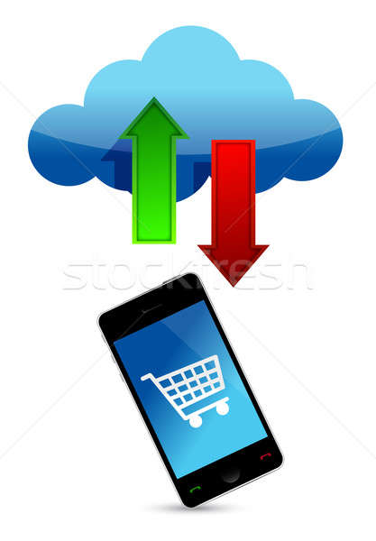 shopping online cloud illustration design over a white backgroun Stock photo © alexmillos