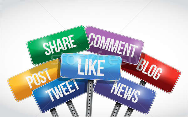 Social media and services sign illustration  Stock photo © alexmillos