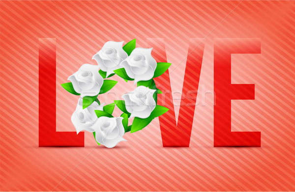 Vermelho cor amor flores ilustração projetos Foto stock © alexmillos