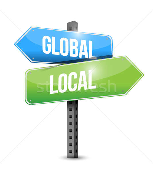 Global and local road sign illustration design Stock photo © alexmillos