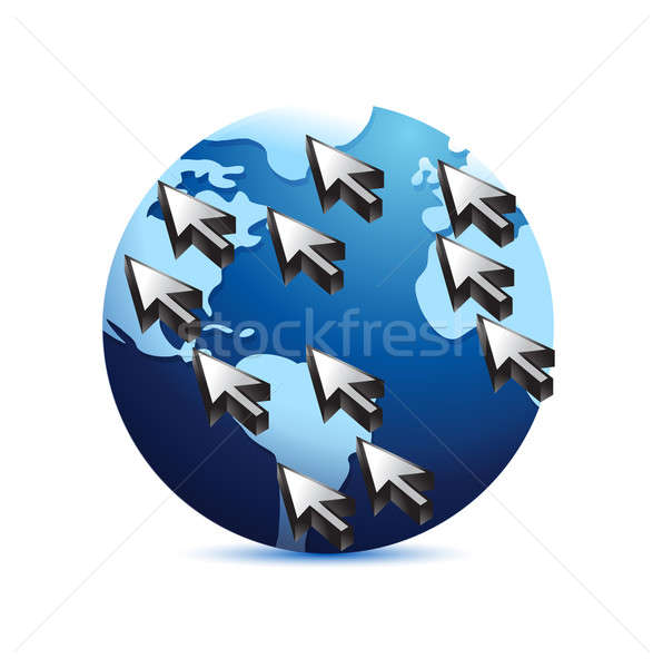 global communication concept illustration design over a white ba Stock photo © alexmillos