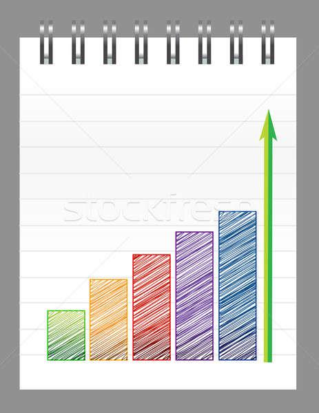 Gráfico de negocio bloc de notas papel diseno signo verde Foto stock © alexmillos