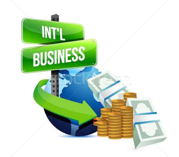 Internationale bedrijfsleven illustratie ontwerp witte business kaart Stockfoto © alexmillos
