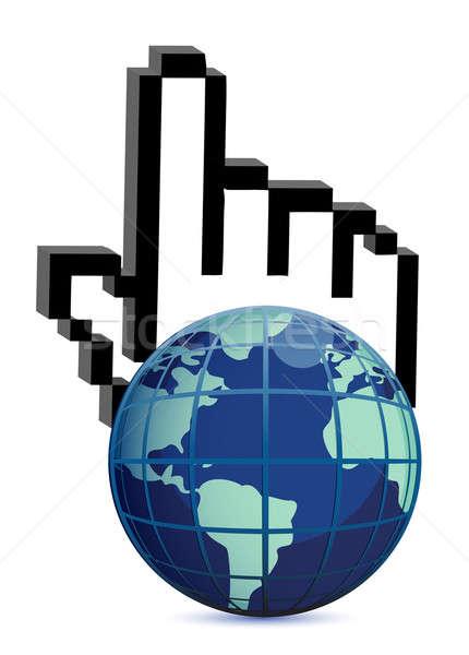 Wereldbol hand cursor illustratie witte business Stockfoto © alexmillos