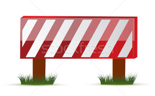 Wooden barrier protecting road works Stock photo © alexmillos
