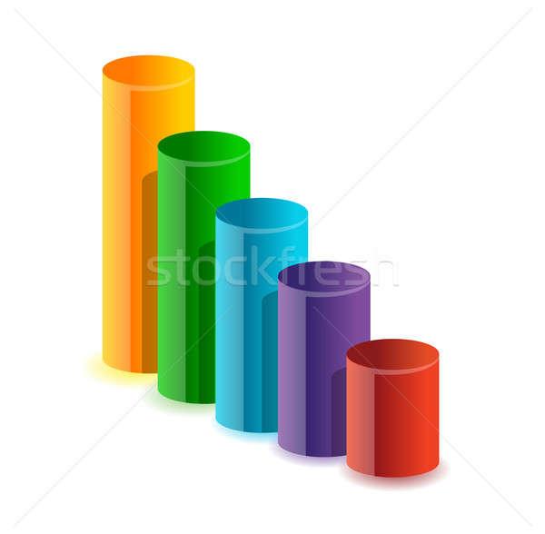 Colorful circular business bar graph illustration Stock photo © alexmillos