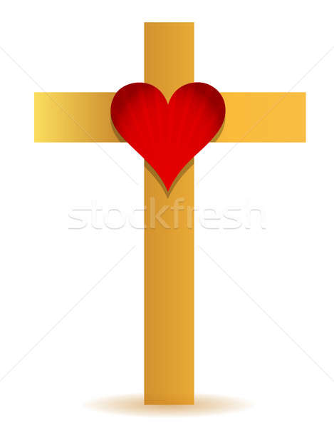 Golden Cross and heart illustration design Stock photo © alexmillos