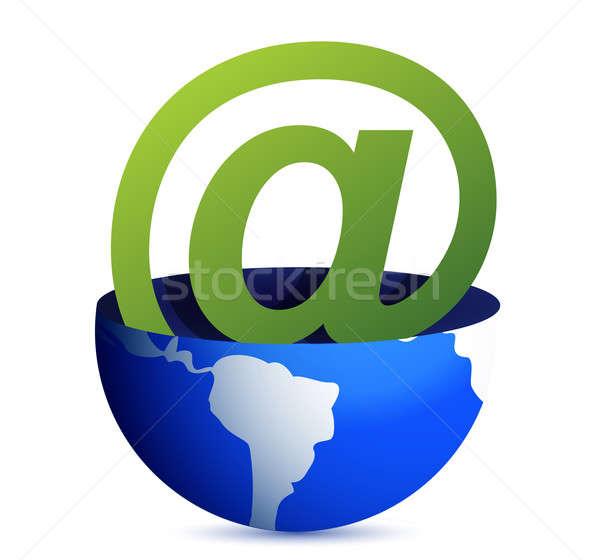 Email address icon inside a globe illustration design Stock photo © alexmillos