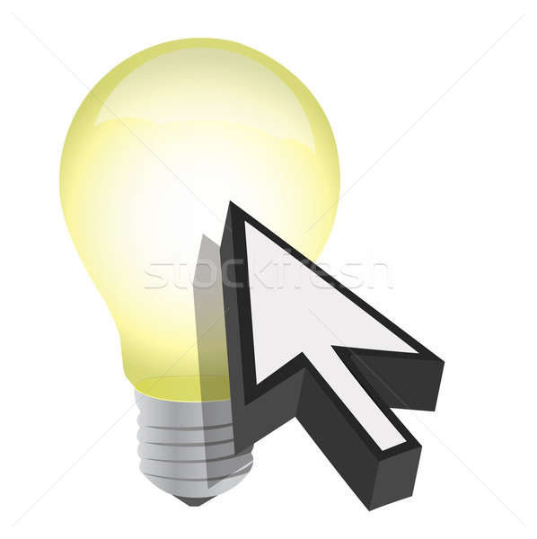 Arrow cursor and light bulb illustration design Stock photo © alexmillos