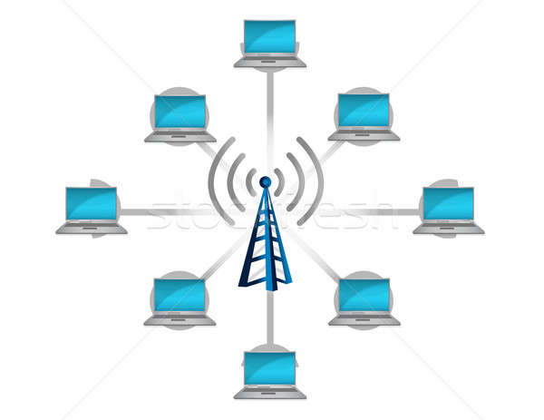 wireless network connection concept illustration design over whi Stock photo © alexmillos
