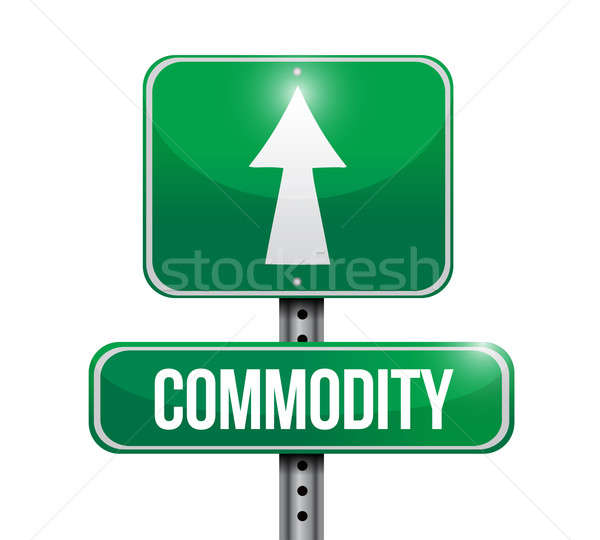 commodity road sign illustration design over white Stock photo © alexmillos