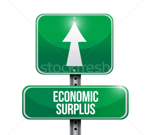 economic surplus road sign illustration design over white Stock photo © alexmillos