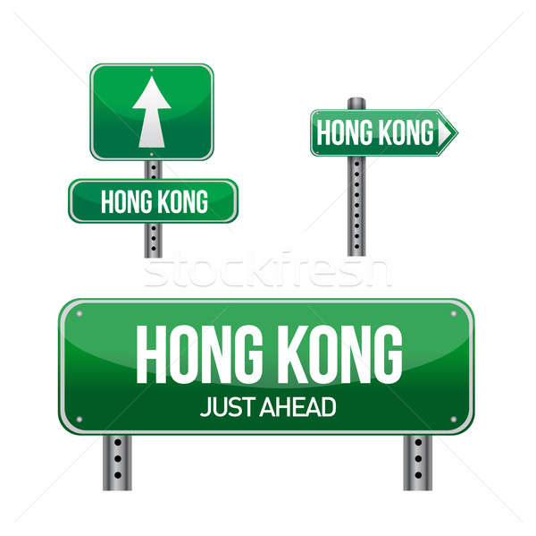 hong kong Country road sign illustration design over white Stock photo © alexmillos