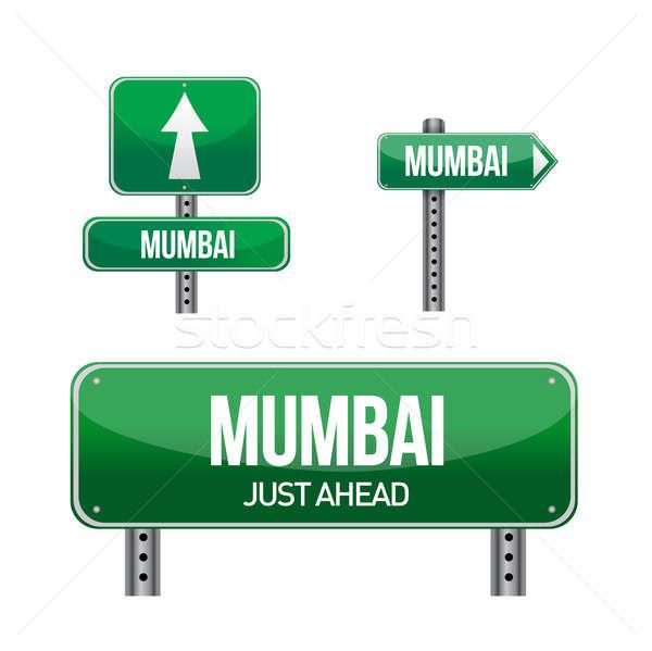 Mumbai cidade placa sinalizadora ilustração projeto branco Foto stock © alexmillos