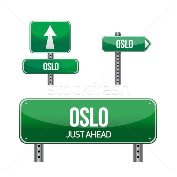 オスロ 市 道路標識 実例 デザイン 白 ストックフォト © alexmillos