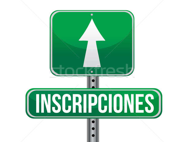registrations in Spanish green traffic road sign illustration de Stock photo © alexmillos