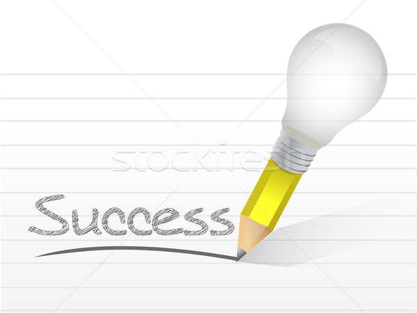 Succès ampoule crayon illustration design blanche Photo stock © alexmillos
