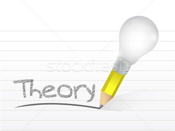 theory written with a light bulb idea pencil illustration design Stock photo © alexmillos
