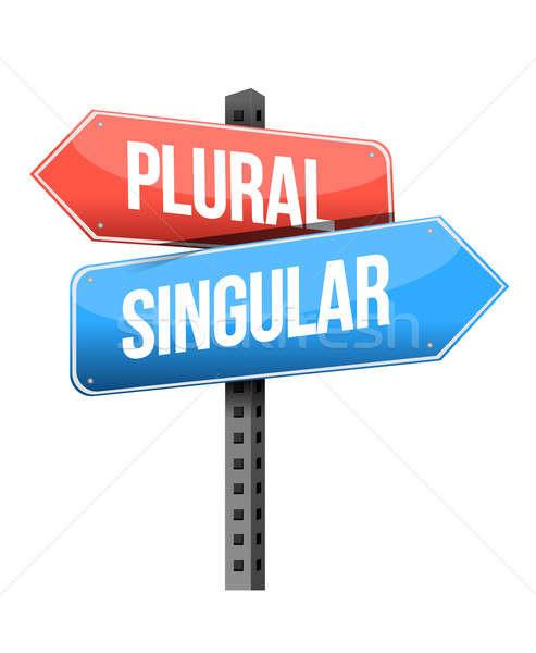 plural, singular road sign illustration design over a white back Stock photo © alexmillos