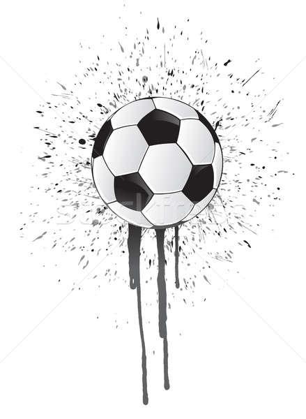 Inchiostro splatter soccer ball illustrazione design bianco Foto d'archivio © alexmillos