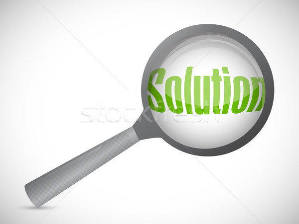 Magnifying glass showing solution word on white background Stock photo © alexmillos