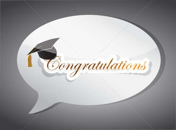 Félicitations éducation bulle illustration design blanche Photo stock © alexmillos
