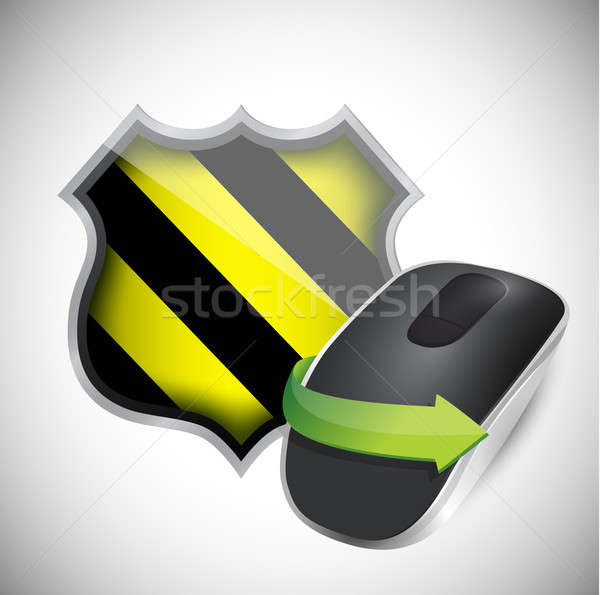 security shield and Wireless computer mouse isolated on white ba Stock photo © alexmillos