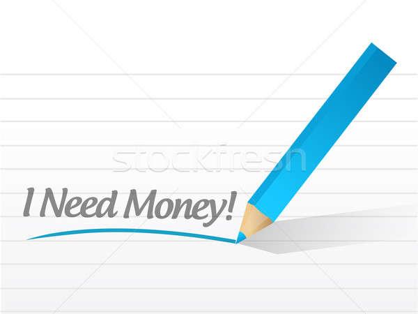 Necessidade dinheiro escrito branco papel fundo Foto stock © alexmillos