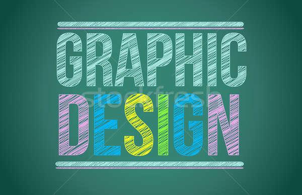 Krijt boord grafisch ontwerp geschreven school studie Stockfoto © alexmillos