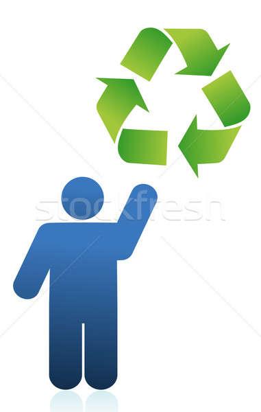 икона Recycle знак иллюстрация дизайна человека Сток-фото © alexmillos