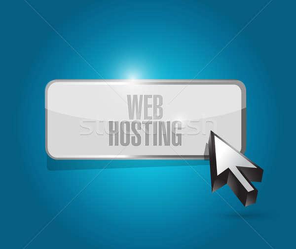 Háló hosting gomb felirat illusztráció grafikai tervezés Stock fotó © alexmillos