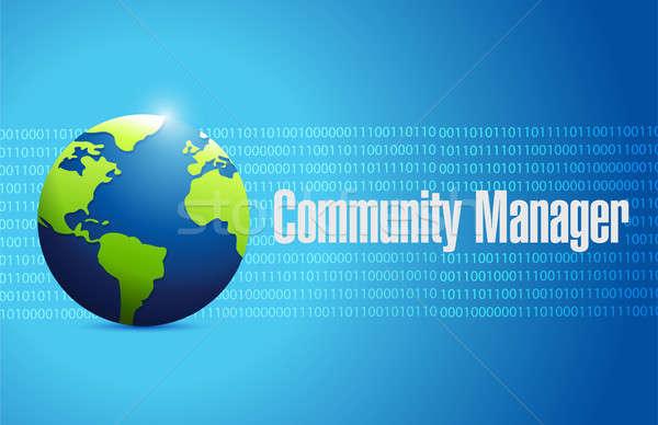 Gemeenschap manager binair wereldbol teken illustratie Stockfoto © alexmillos