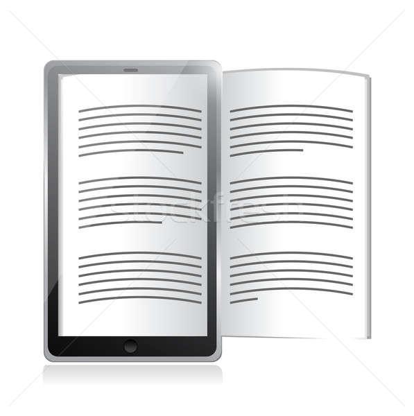 Ekönyv olvasó tabletta illusztráció terv fehér Stock fotó © alexmillos