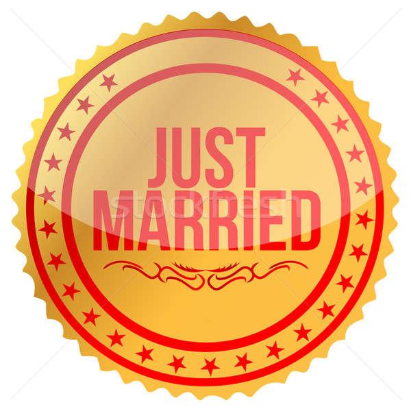 Arany friss házasok bélyeg nyomtatott illusztráció terv Stock fotó © alexmillos