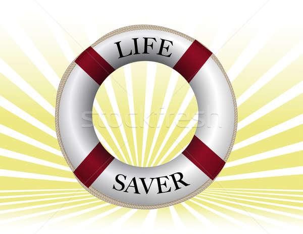 Life preserver over sun rays background. Stock photo © alexmillos
