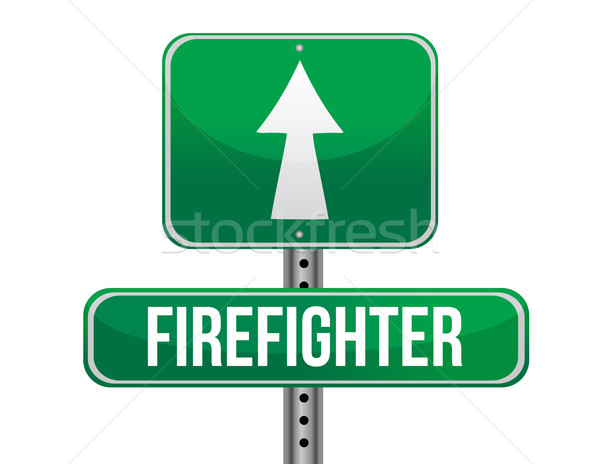 firefighter road sign illustration design over a white backgroun Stock photo © alexmillos