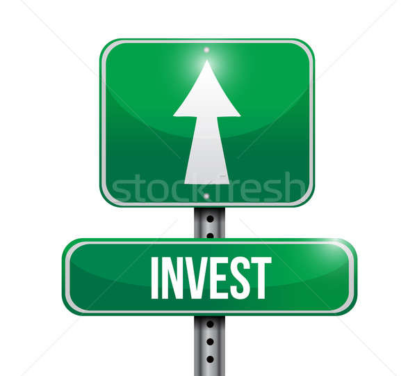invest road sign illustrations design over white Stock photo © alexmillos