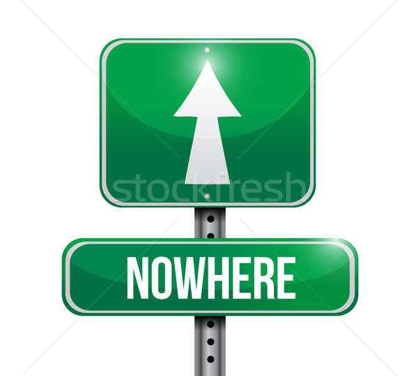 nowhere road sign illustration design over a white background Stock photo © alexmillos